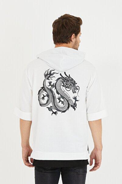 Erkek Oversize Beyaz T-shirt Baskılı