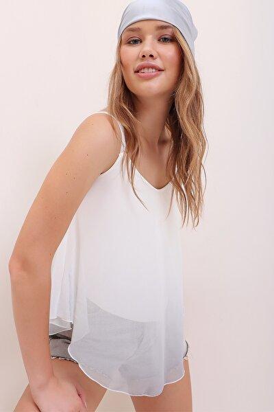 Kadın Gri Dantel Askılı Degrade Desenli İçi Astarlı Bluz ALC-X6888