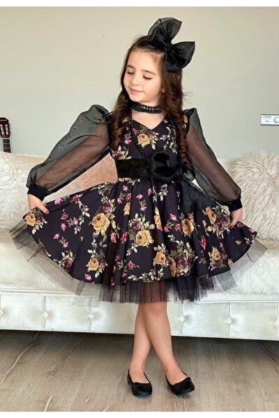 Kız Çocuk Black Flowers Tütülü Elbise