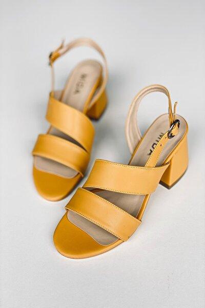 Hardal Deri Topuklu Ayakkabı