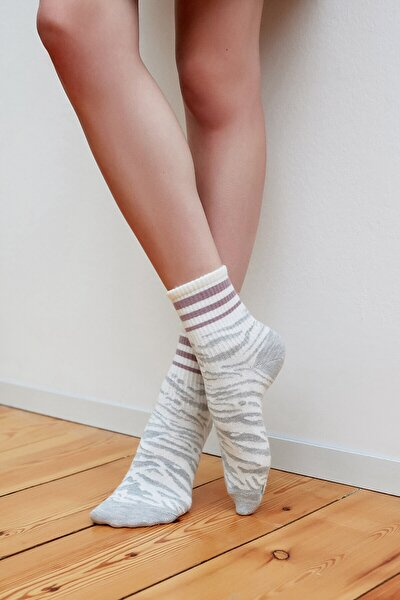 Açık Gri Cool Zebra Soket Çorap