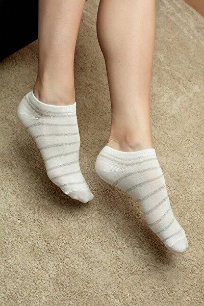 Pembe Gri Beyaz Shiny Line 3lü Patik Çorap