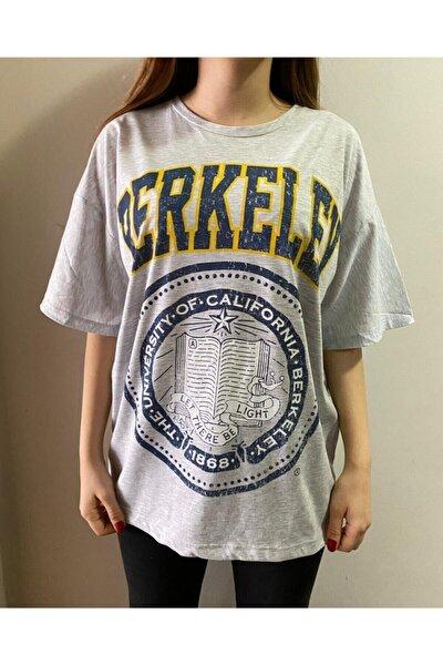 Berkeley Unıversıty Of Calıfornıa Gri Dijital Baskılı Oversize T-shirt Tişört