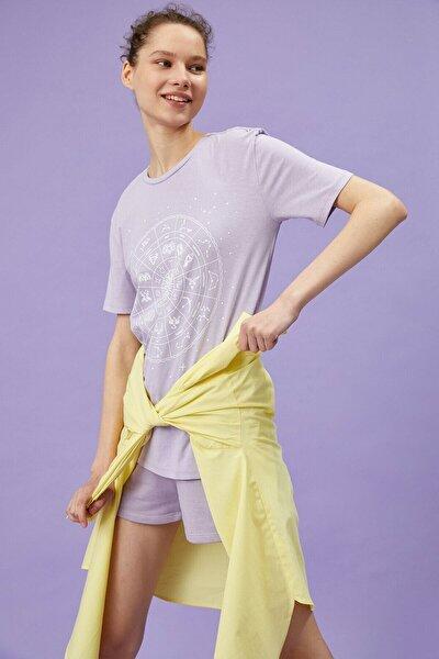 Kadın Lila T-Shirt 1YAL18754IK