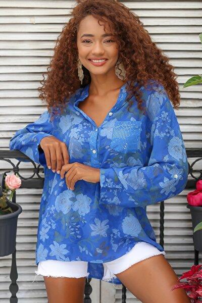Kadın Mavi Italyan Gül Desenli Patı Ve Cebi Pul Dokuma Uzun Kol Ayar Düğmeli Bluz M10010200bl95057