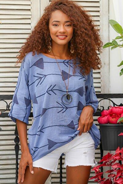 Kadın Mavi Italyan Ok Desenli Sıfır Yaka 3/4 Kol Dokuma Oversize Bluz M10010200bl95044