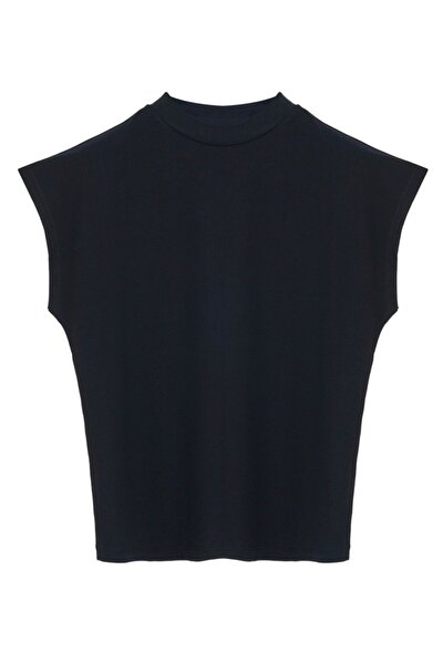 Cate Dik Yaka (mock Neck) Kısa Kol Siyah Bluz