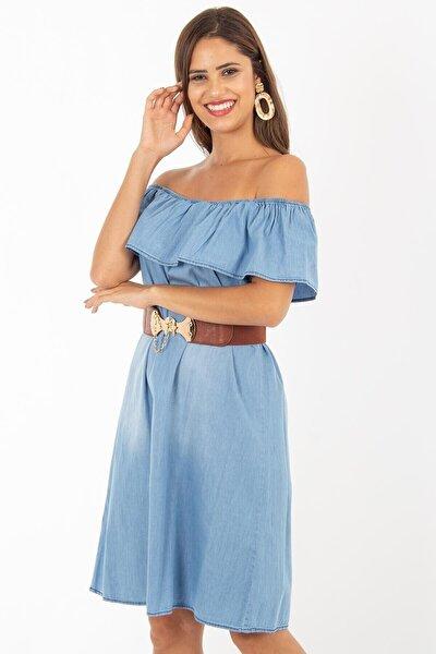 Kadın Buz Mavi Yakası Fırfırlı Kot Elbise 1481t