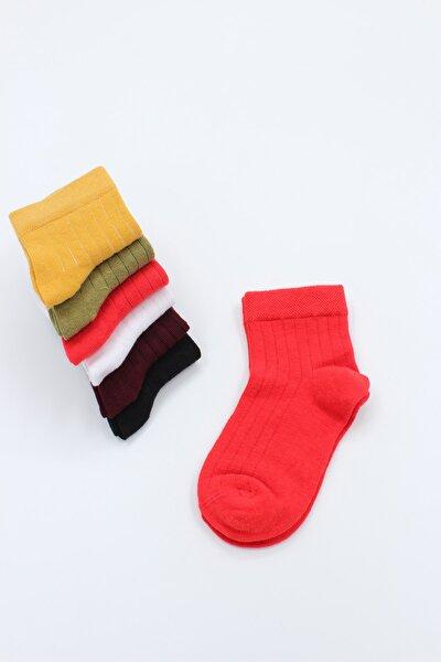 6'lı Çok Renkli Fitilli Soket Çorap