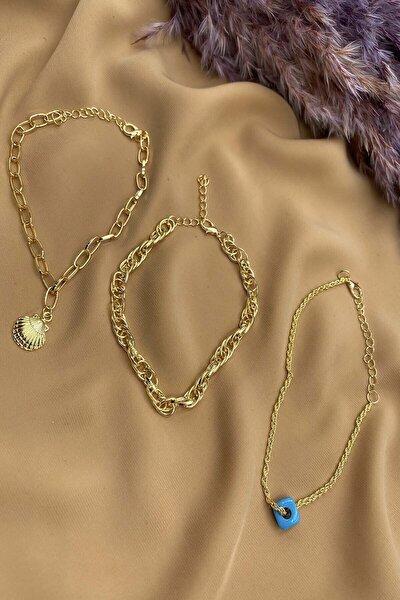 Altın Renk Üçlü Halhal