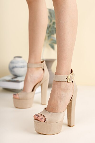 Ten Süet Bilekten Baretli Kadın Yüksek Topuklu Ayakkabı