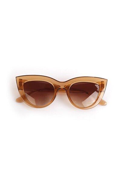 Kadın Kahverengi Kalın Çerçeveli Tasarım Cat Eye Güneş Gözlüğü 1