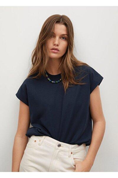 Kadın Lacivert %100 Geri Dönüştürülmüş Pamuklu Tişört