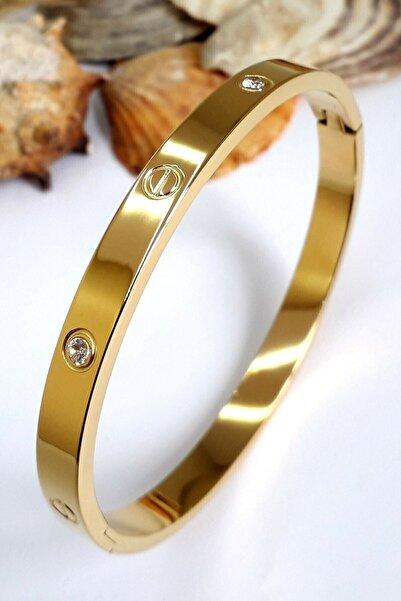 Kadın Altın Renk Çelik Kelepçe Taşlı Bileklik