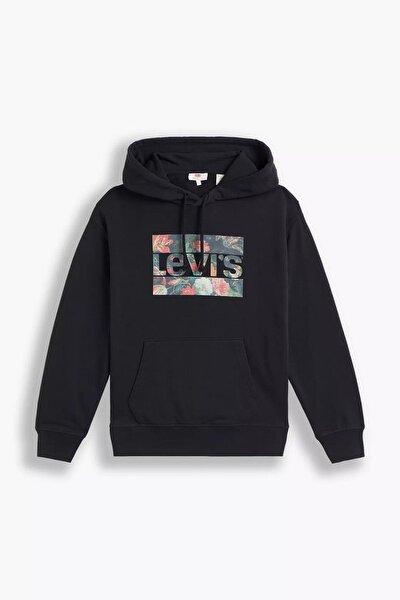 Kadın Standart Kalıp Graphic Siyah Sweatshirt