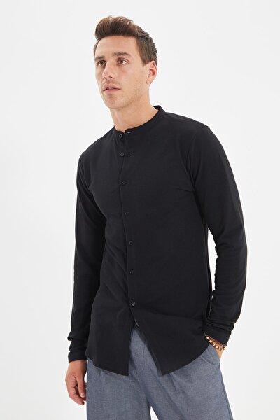 Siyah Erkek Slim Fit Hakim Yaka Pike Örme Gömlek TMNSS20GO0293
