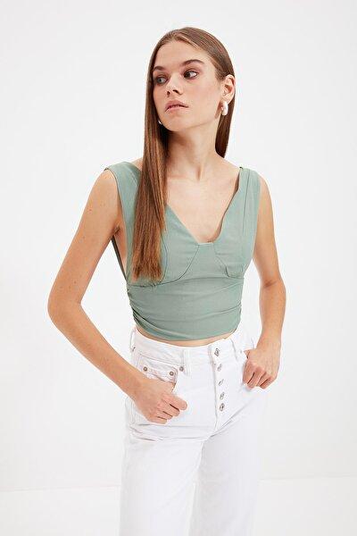 Yeşil Kolsuz Bluz TWOSS21BZ1887