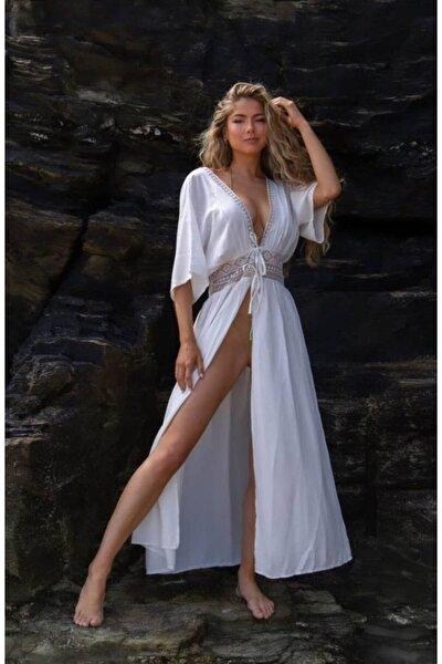 Kadın Beli Güpürlü Poreo Elbise