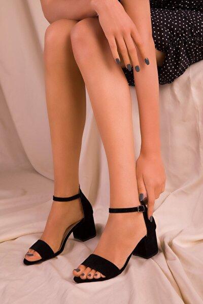 Tria Siyah Süet Kadın Klasik Tek Bant Topuklu Ayakkabı