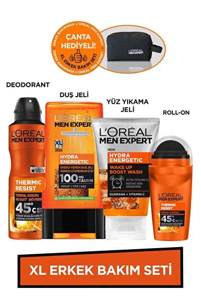 Xl Erkek Bakım Seti Hydra Energetic Duş Jeli+yüz Yıkama Jeli+thermic Resist Deodorant+roll On +çanta