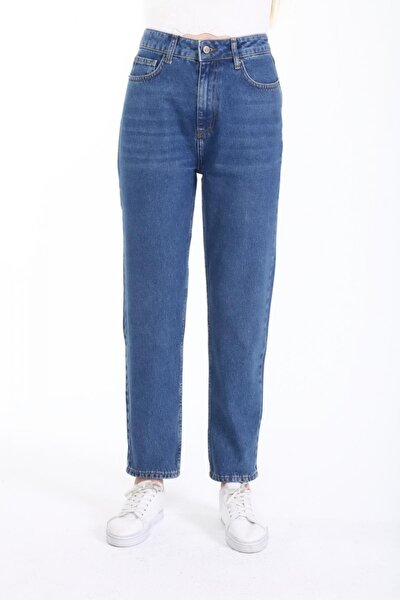 Kadın Mom Fit Jean Pantolon Mavi