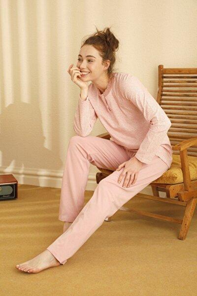 Pamuklu Likralı Düğmeli Pijama Takım