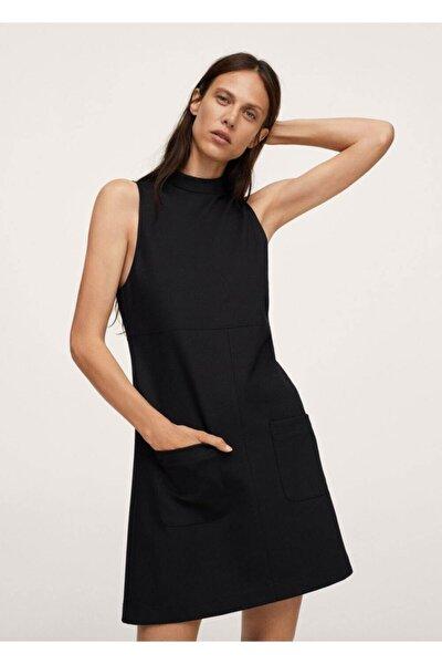 Kadın Siyah Perkins Yaka Jile Elbise