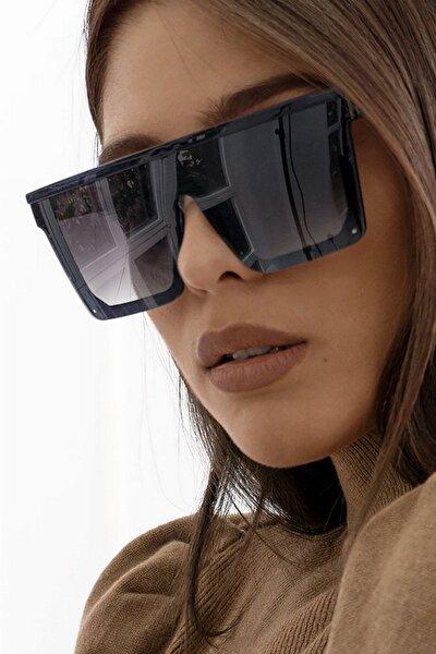 Bonas Üstü Düz Kare Büyük Kadın Güneş Gözlüğü Siyah