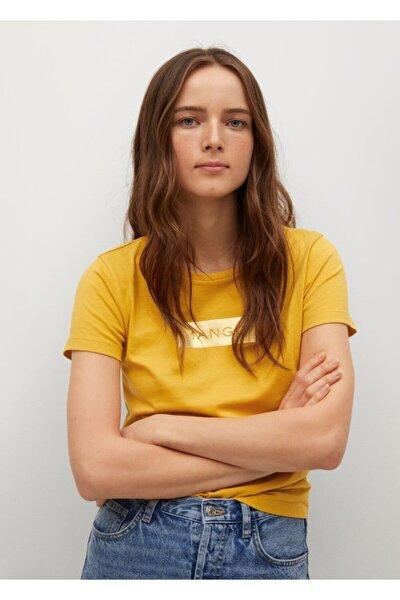 Kadın Hardal Rengi Geri Dönüştürülmüş Pamuklu Logolu Tişört