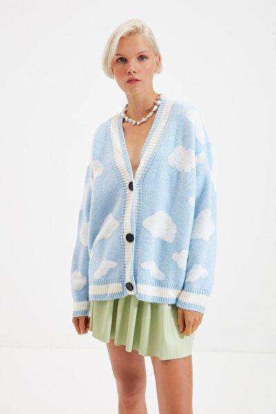 Mavi Bulut Jakarlı Uzun Triko Hırka TWOAW21HI0231