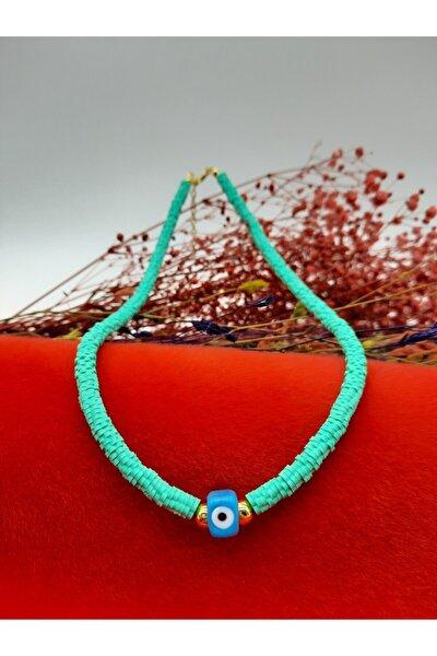 Kadın Bijuteri Renk Su Yeşili Murano (cam) Nazarlı Fimo Kolye