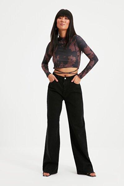 Siyah Bağlama Detaylı Batik Örme Bluz TWOAW21BZ0886