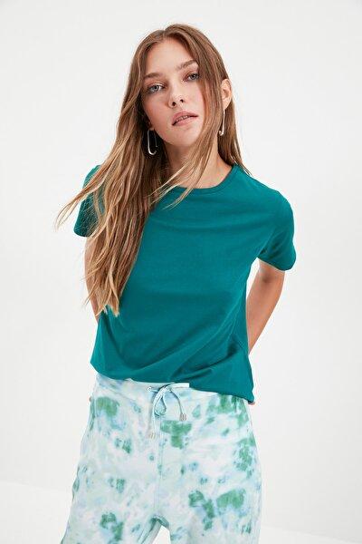 Zümrüt Yeşili %100 Pamuk Bisiklet Yaka Basic Örme T-Shirt TWOSS20TS0133