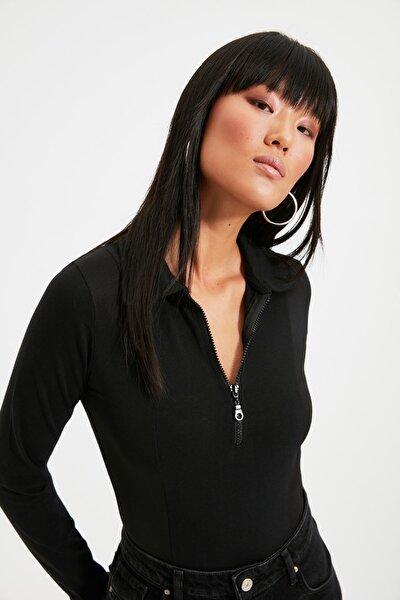 Siyah Fermuarlı Çıtçıtlı Örme Body TWOAW21BD0066