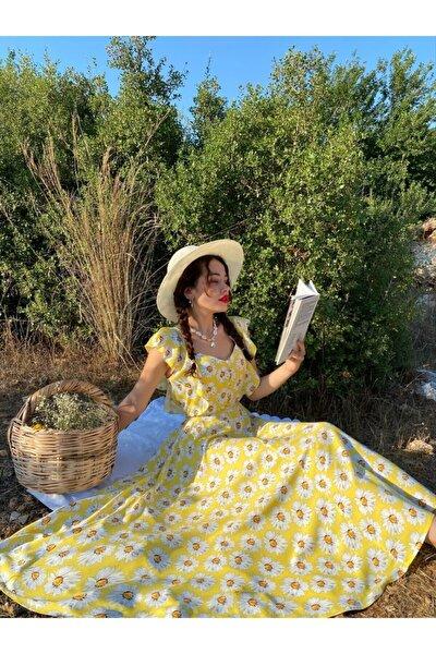Kadın Sarı Papatya Desenli Günlük Uzun Elbise