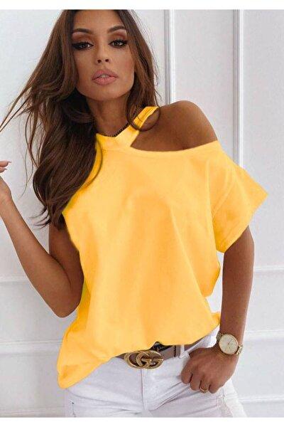 Yeni Model Kadın Tek Omuz Dekolteli Tasarım Bluz(sarı)