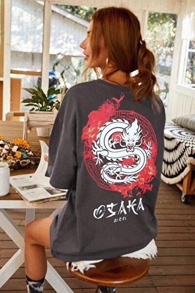 Antrasit Osaka Dragon Japonca Baskılı Oversize Salaş Kadın T-shirt