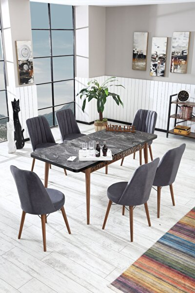 Carte Serisi Siyah Yemek Masası Mutfak Masası Açılır Masa Takımı 6 Sandalyeli - Antrasit