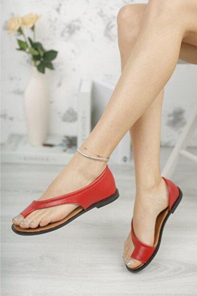 Kadın Kırmızı Parmak Arası Ayakkabı Sandalet