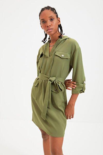 Haki Kuşaklı Kapüşonlu Elbise TWOAW22EL0184