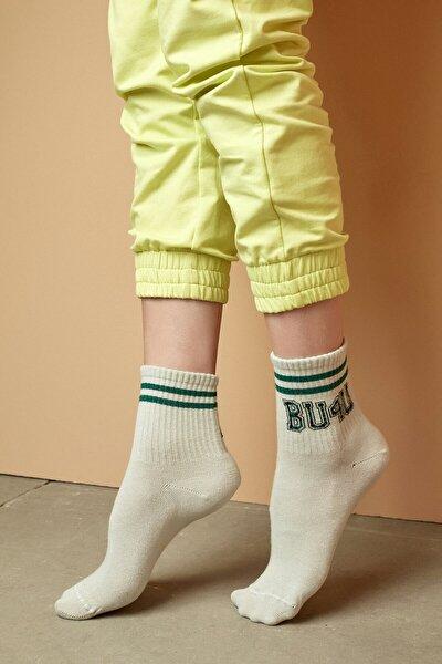 Ekru Bu4u Coll Soket Çorap