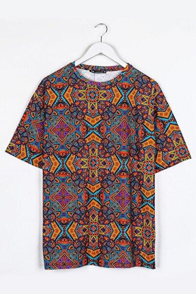Turuncu Etnik Dijital Baskılı Oversize Unisex Tshirt