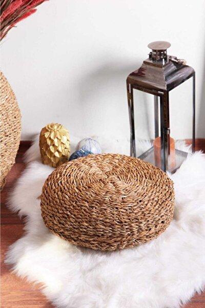 %100 Bambu Hasır Küçük Boy Yuvarlak Puf Minder Dekoratif Natural Lüks Koleksiyon 40x40x20 Cm Minder
