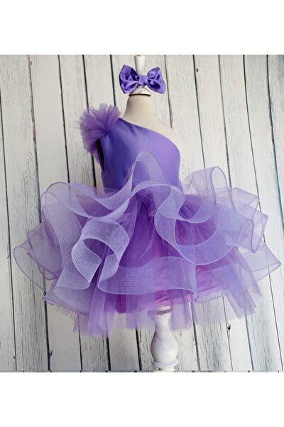 Kız Çocuk Lila Saten Parla Grenli Tek Omuz Kabarık Elbise