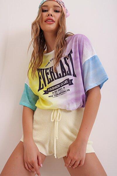 Kadın Lila Baskılı Beli Bağcıklı Crop T-Shirt MDA-1137-RW
