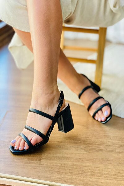 Mida Siyah Mavi Üç Şerit Topuklu Ayakkabı