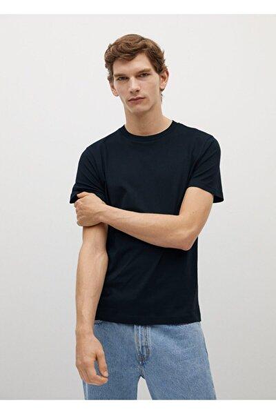 Erkek Lacivert Sürdürülebilir Pamuklu Basic Tişört