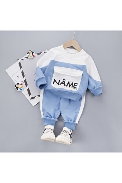 Name Yazılı Mavi Erkek Bebek 2li Takım