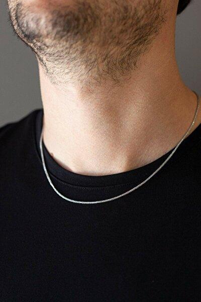 Unisex Gümüş Ince Yılan Model Çelik Zincir Erkek Kolye