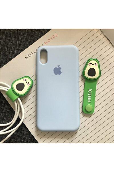 Iphone X Xs Uyumlu Model Uyumlu Kamera Korumalı Logolu Lansman Kılıf ve Kablo Toparlayıcı